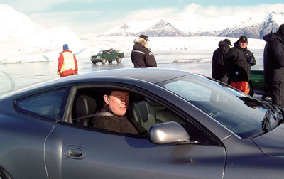 This was in Iceland doubling Pierce Brosnan in the Aston Martin on the ice chase for 'Die Another Day' in 2002. Remarkable likeness (I don't think!!)