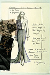 Lindy's sketch for Elektra's costume in the1999 film'The World is not Enough'