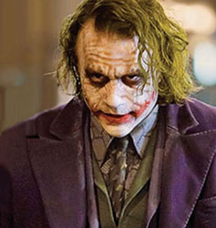 Heath Ledger as The Joker in 'The Dark Knight' - 2008 The costume is designed to reflect The Joker's personality - twitchy, grubby, corrupt